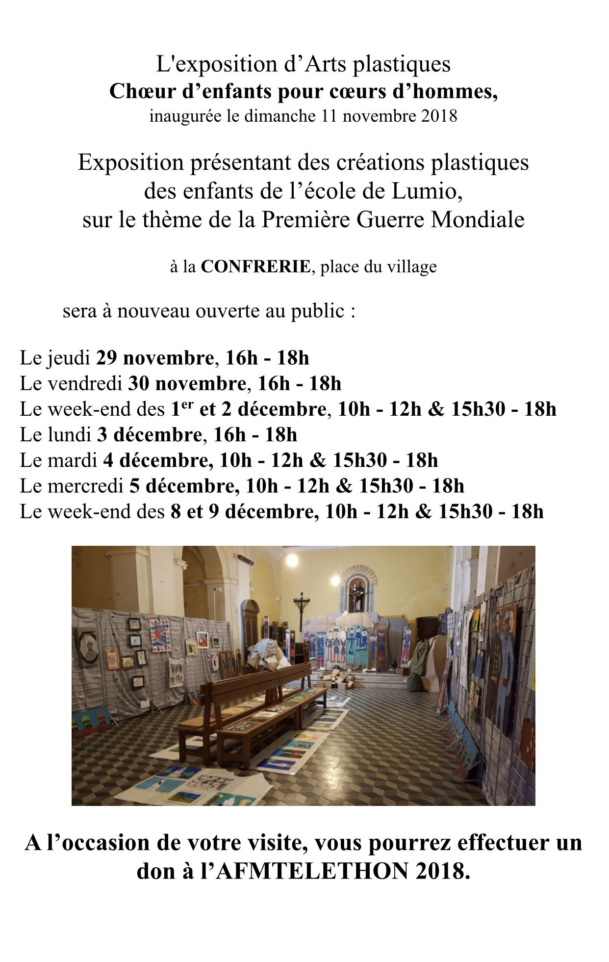 Exposition des enfants de Lumio sur les commémorations de 14-18