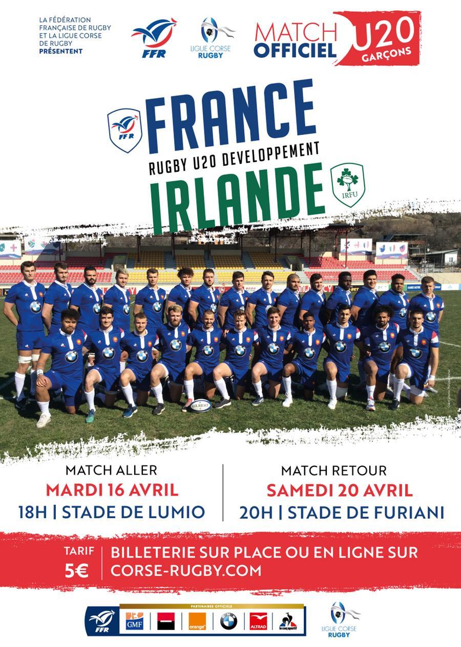 Rugby U20 : France Irlande à Lumio et Furiani les 16 & 20 avril 2019