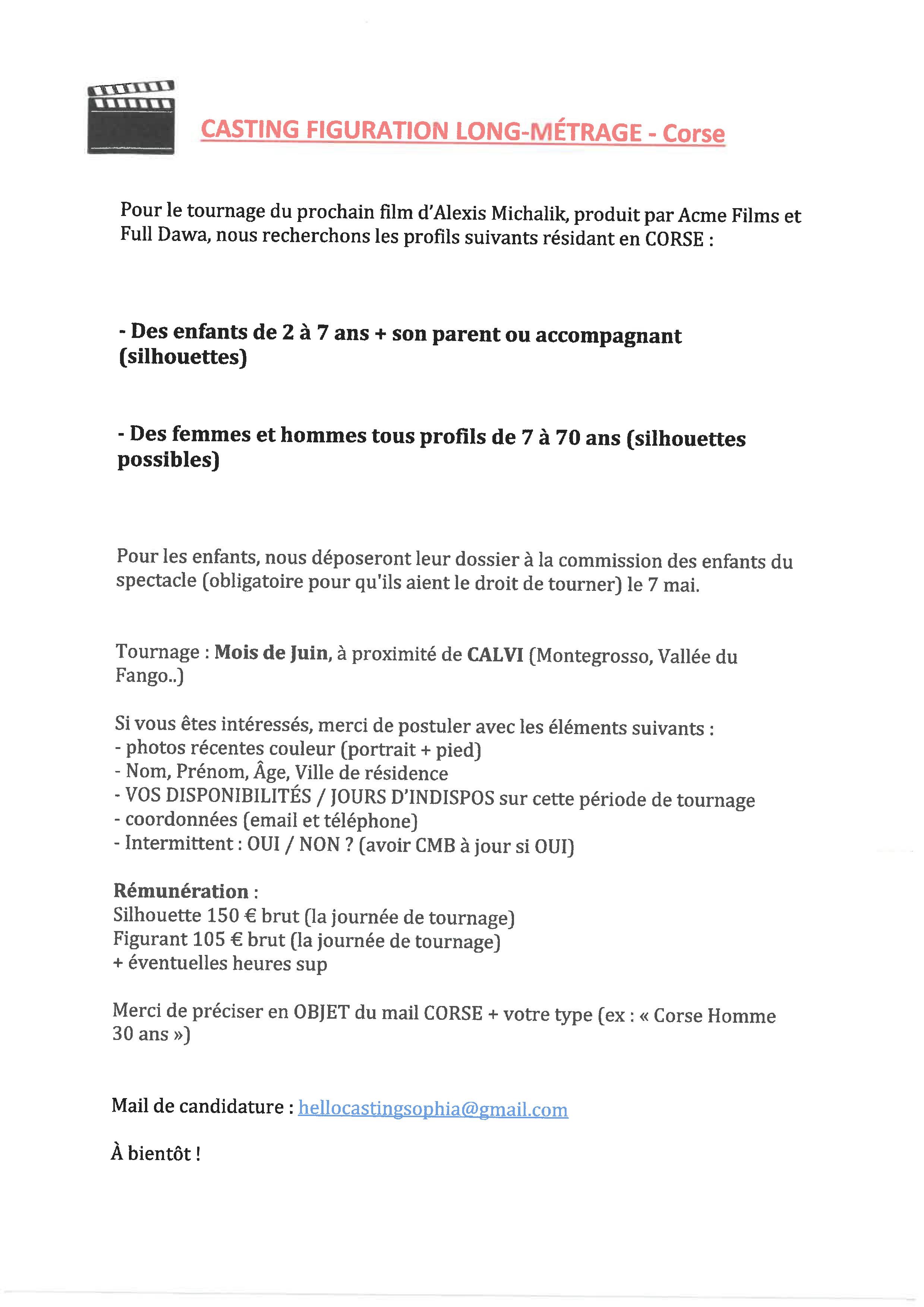 CASTING POUR LE TOURNAGE D'UN LONG-MÉTRAGE