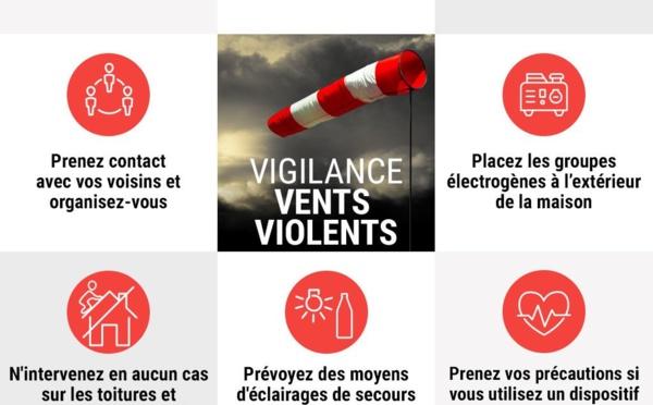 VIGILANCE ROUGE VENT VIOLENT ET VIGILANCE JAUNE VAGUE SUBMERSION